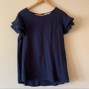 active USA blue ruffle short sleeve top large